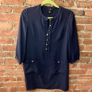 Navy Tunic Dress with Gold Button Details - Size 6